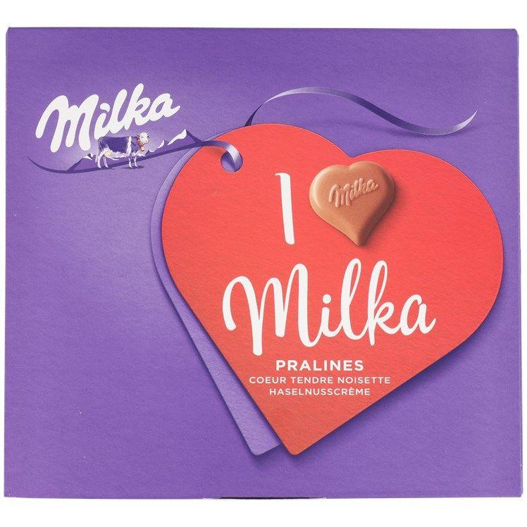Boîte de pralines chocolats I love Milka (différents modèles au choix)