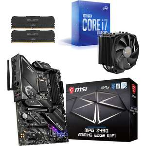Kit évo Processeur Core i7-10700K + Carte Mère MSI MPG Z490 GAMING EDGE WIFI + Dark Rock 4 + 16 Go de RAM