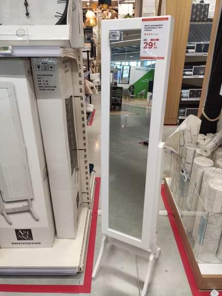 Miroir rectangulaire psyché Bijoux blanc (37 x 145 cm) - St Ouen (93)