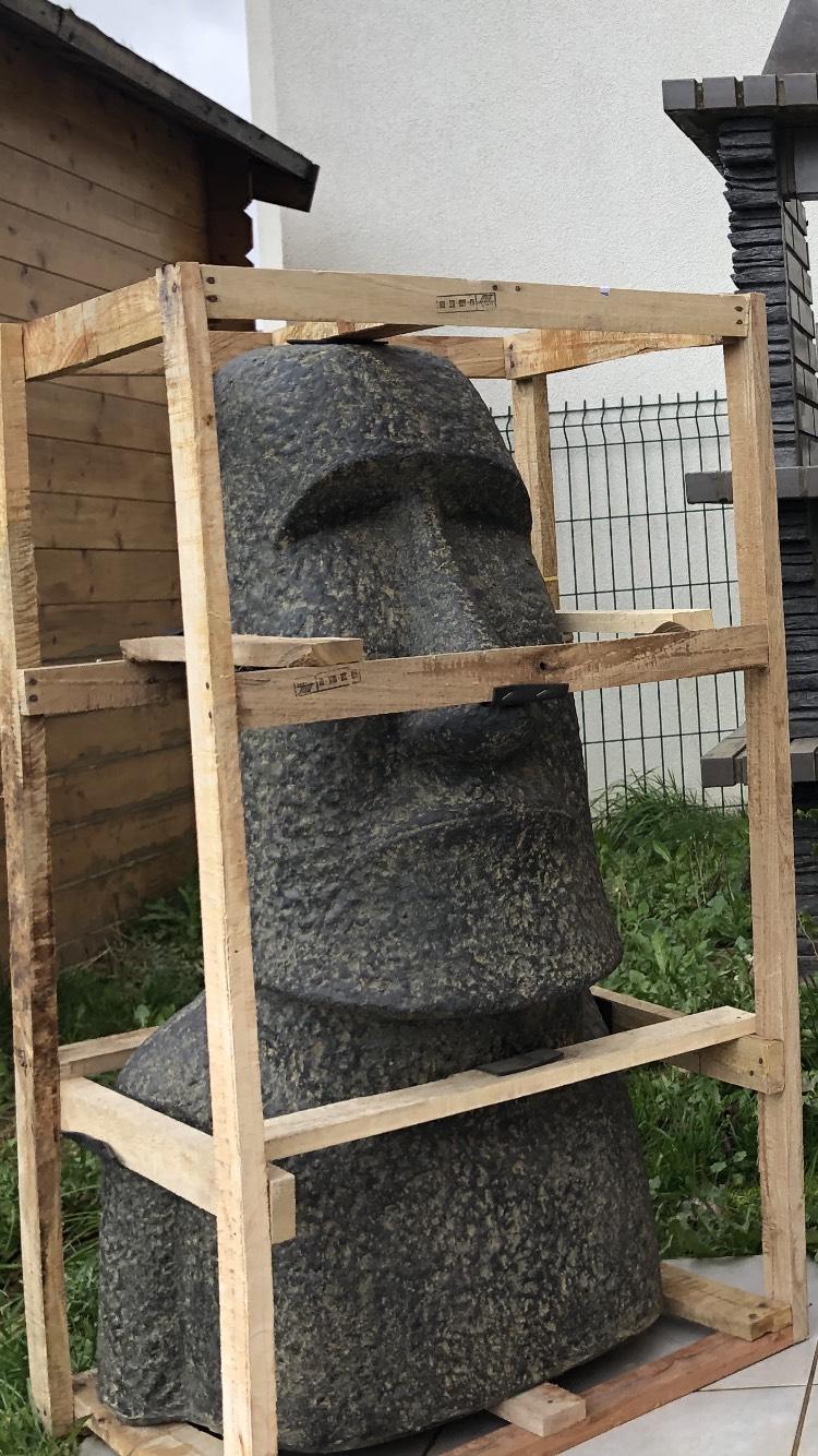 Statue Moaï en ciment et pierre - Hauteur 1 mètre
