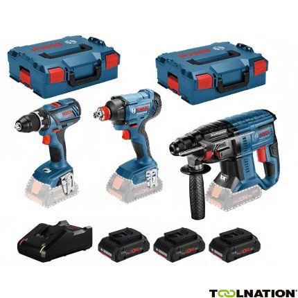 Kit de 3 outils Bosch 18V (Perceuse + Clé à chocs + Perceuse à percussion) + 3 batteries Procore 4Ah + 1 chargeur + 2 L-Boxx (toolnation.de)