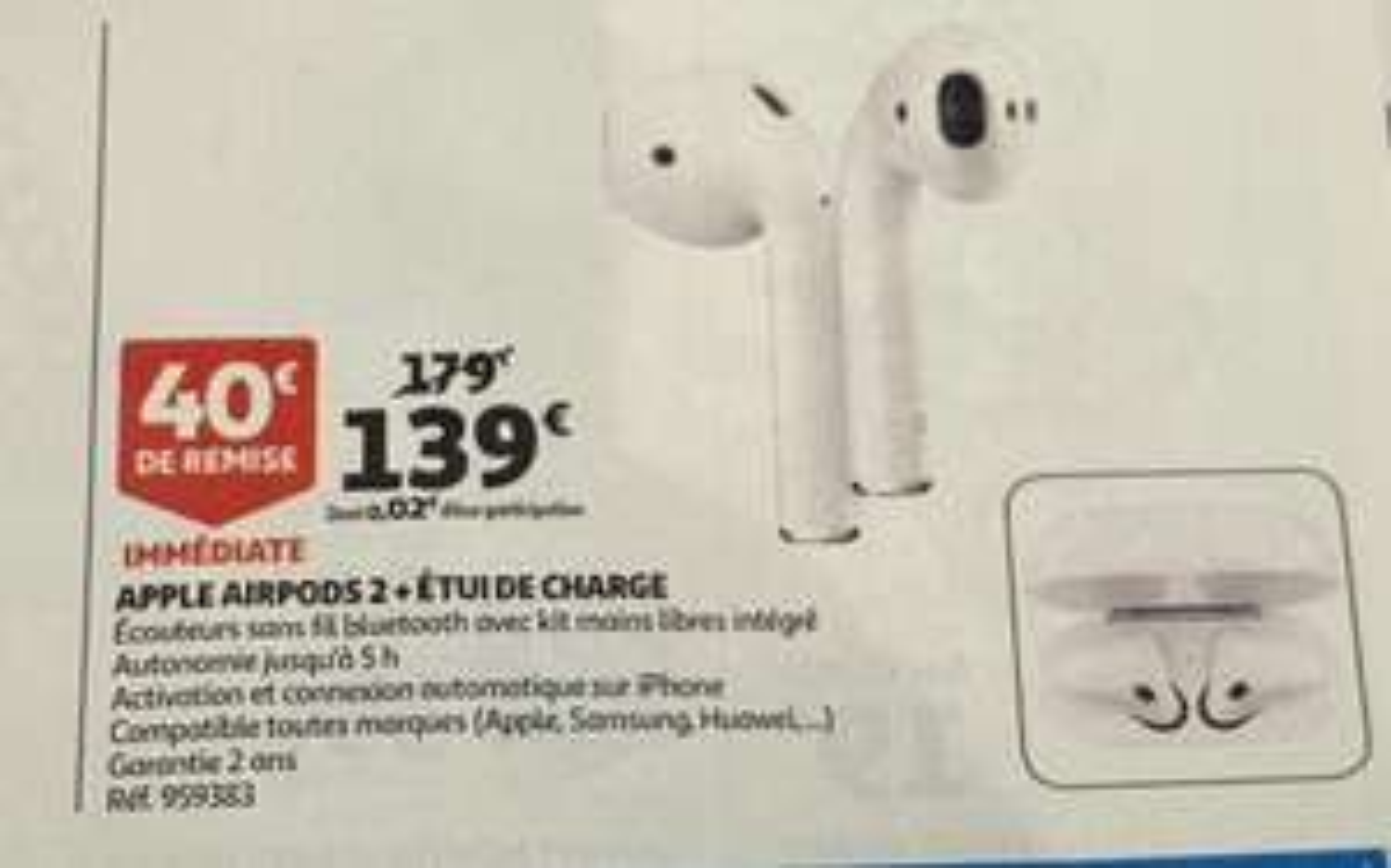 Écouteurs sans fil Apple AirPods 2 avec boitier de charge filaire