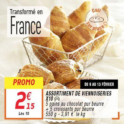 Lot de 10 viennoiseries pur beurre (5 pains au chocolat + 5 croissants)
