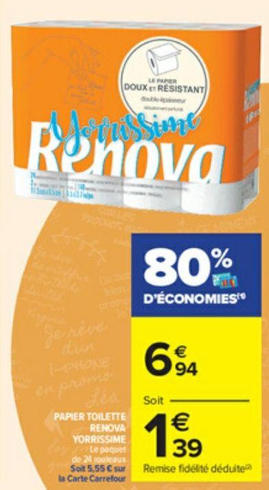 Paquet de 24 rouleaux de Papier toilette Renova (via 5.55 sur Carte fidélité)
