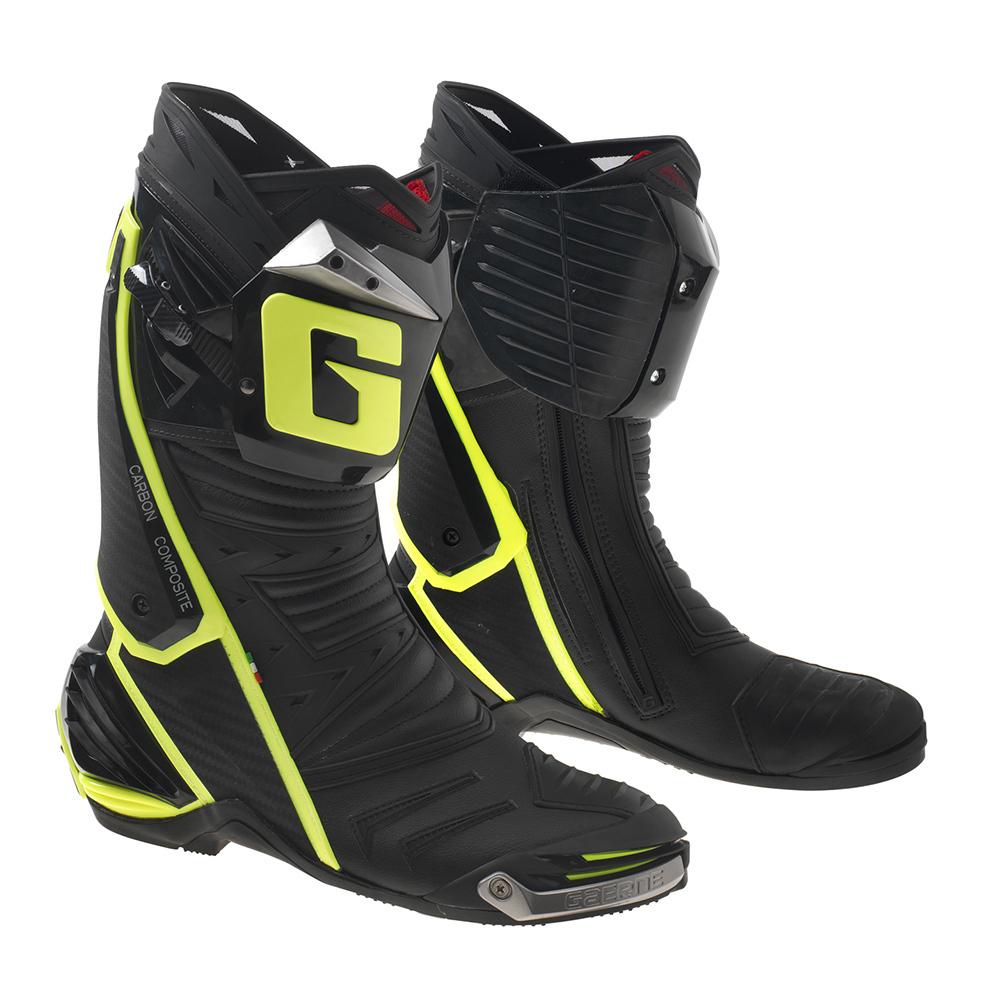 Bottes moto racing Gaerne G.P1 pour Homme - Noir/Jaune (Taille 48)