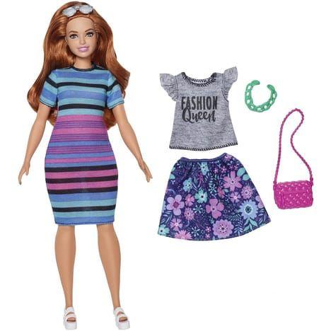 Poupée Barbie Fashionistas et Tenues robe rayures et jupe