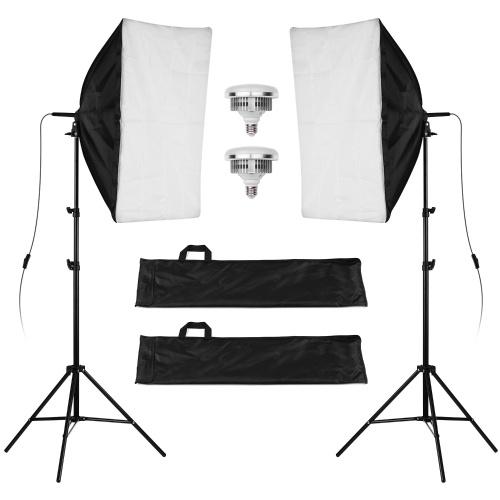Kit d'éclairage Studio Softbox professionnel Life of Photo LF-ET5750Ⅱ - 2 Lampes LED (50W, 9000 LUX, 5400K) - Entrepôt Allemagne