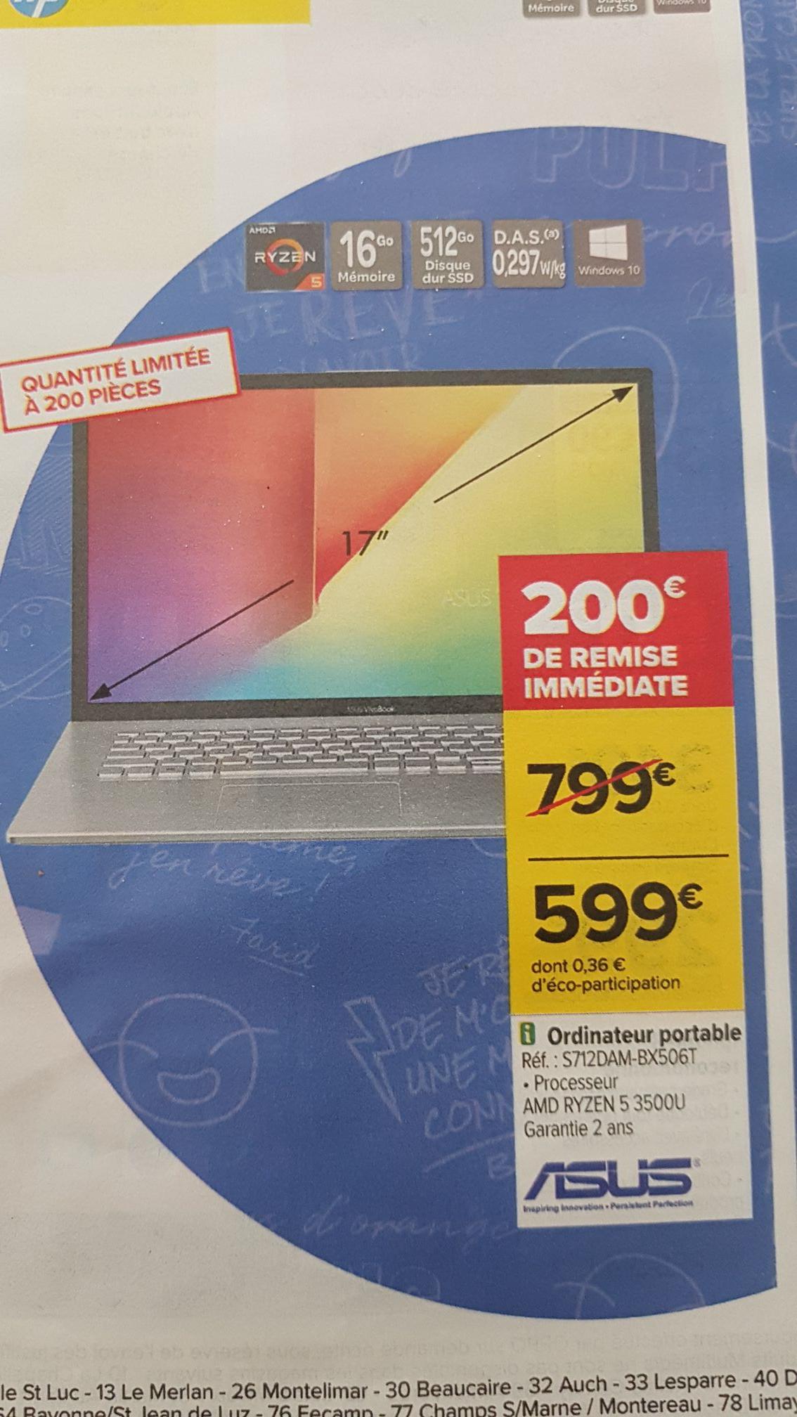 "PC Portable 17.3"" Asus S712DAM-BX506T - HD+, Ryzen 5 3500U, SSD 512 Go, RAM 16 Go, Vega 3, Windows 10"
