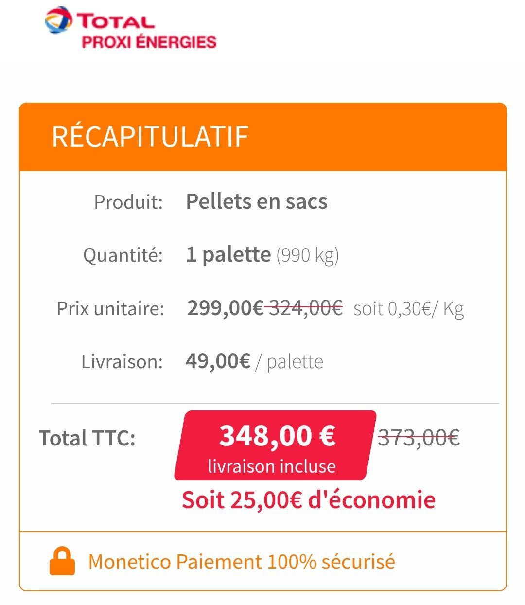 Palette de 66 sacs de granulés de bois - 990 Kg (total-proxi-energies.fr)