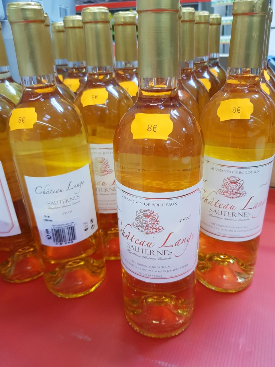 1 Bouteille de vin 75cl Sauternes château Lange 2018 - Mérignac (33)