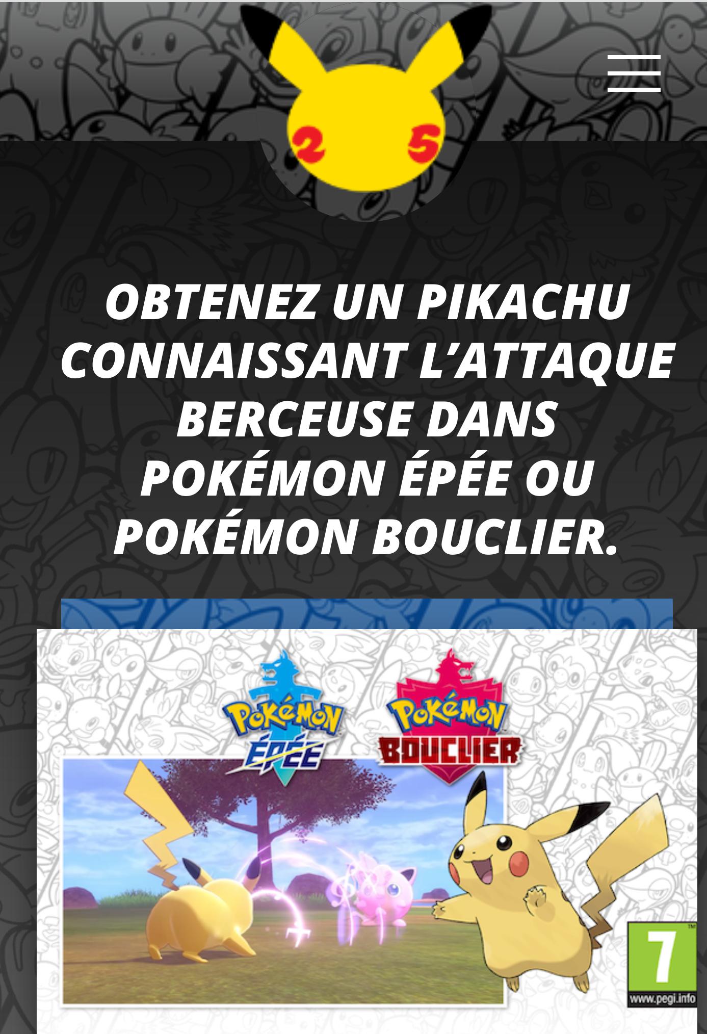 Contenu numérique : Pikachu avec l'attaque berceuse offert sur Pokemon Épée / Bouclier (Dématérialisé)