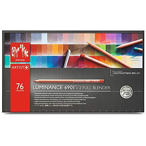 Boîte de 76 Crayons de couleurs assorties + 2 Blenders Caran d'Ache Luminance 6901 Professionnel