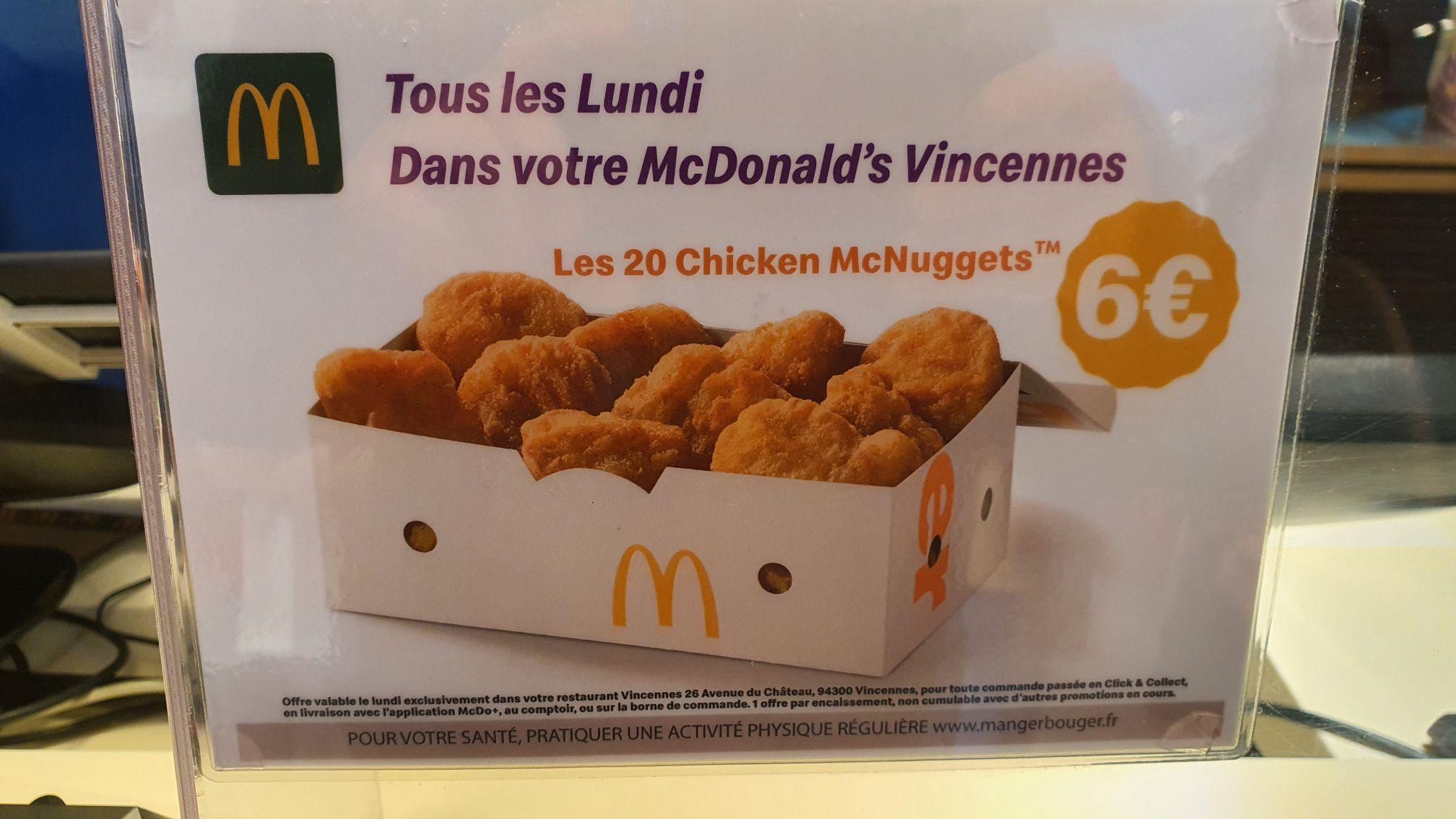 Boîte de 20 Chicken McNuggets (Vincennes 94)