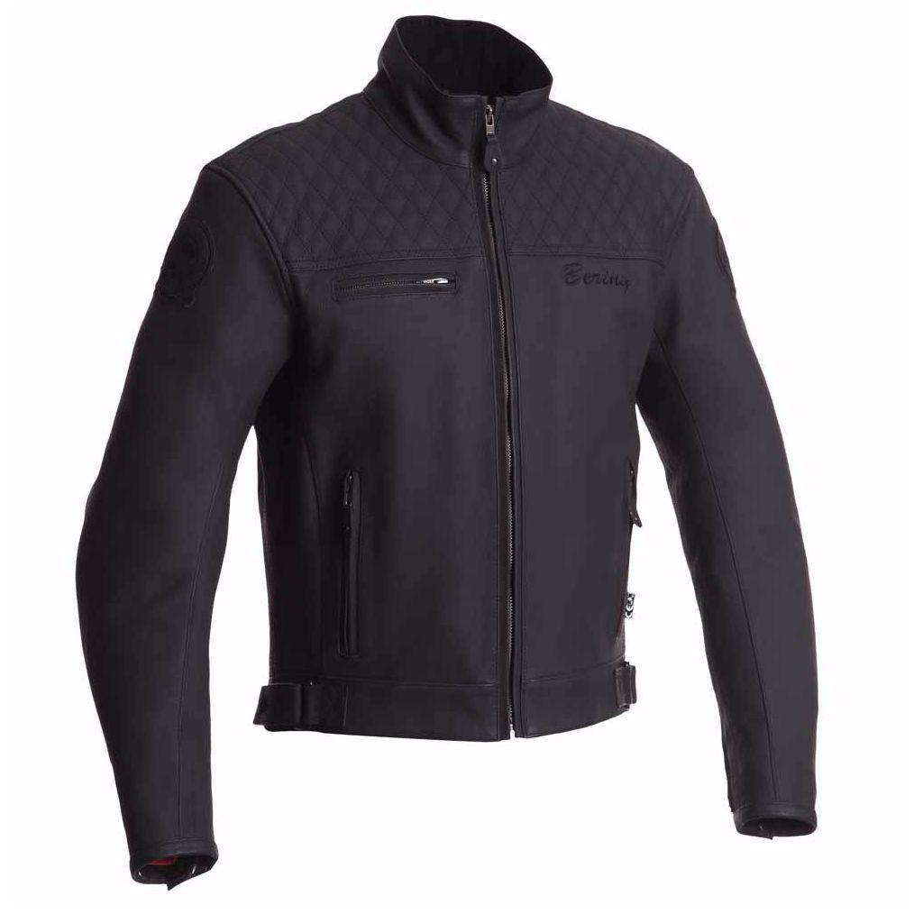 Blouson de moto en cuir Bering History - Noir, Tailles M à XXL