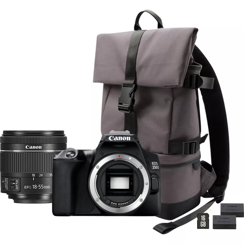 Appareil photo Canon EOS 250D, noir + objectif 18-55mm f/4-5.6 IS STM, noir + sac à dos + carte SD + batterie de rechange