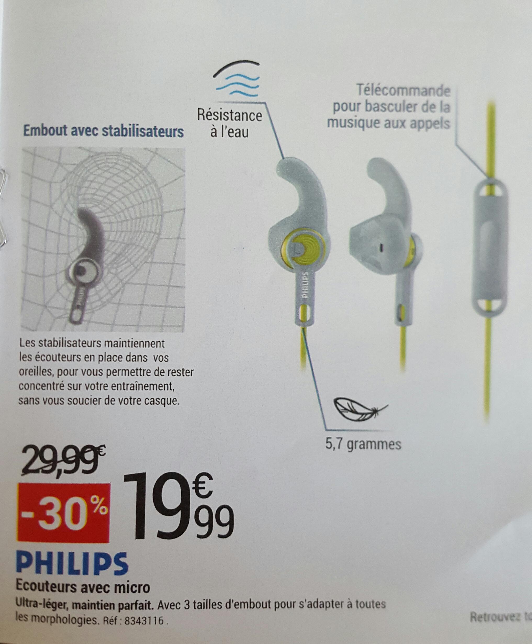 Ecouteurs intra-auriculaire Phillips Actionfit SHQ1305 - Micro + embouts stabilisateurs