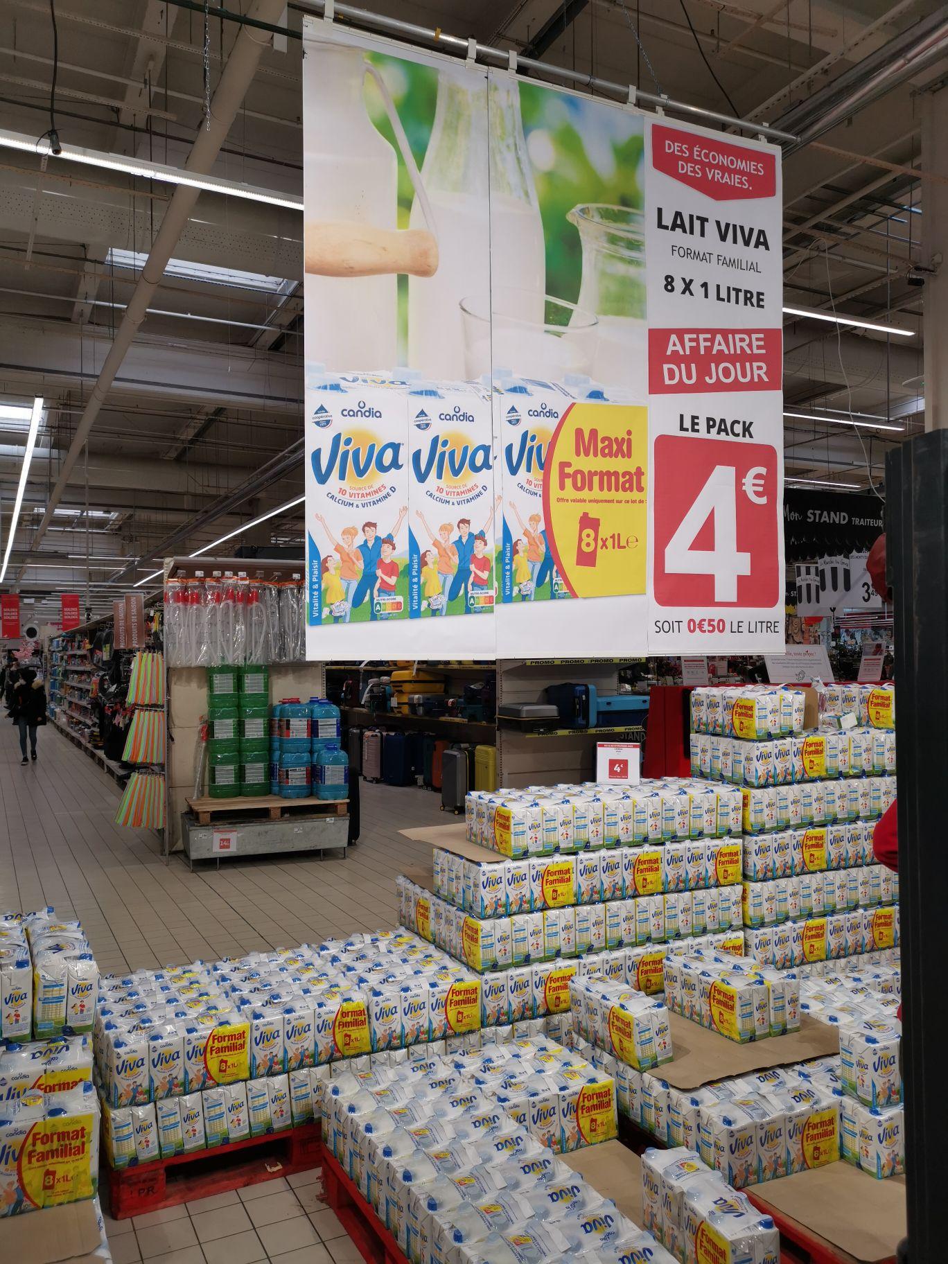 Paquet de 8 bouteilles de Lait Candia Viva 10 vitamines (Saint-Priest 69)