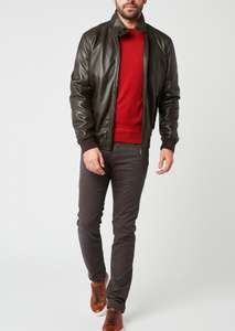Blouson en cuir uni marron Father & Sons