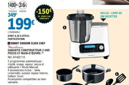 Sélection d'offres catalogue - Ex : Robot Cuiseur Moulinex Click Chef HF452110 - Blanc