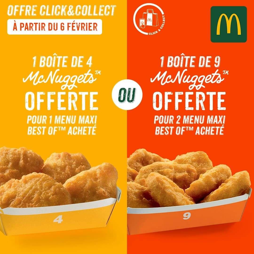 Sélection d'offres promotionnelles - Ex : Boite Mc Nuggets offerte pour 1 Menu Maxi Best Of acheté (Montpellier Odysséum 34)