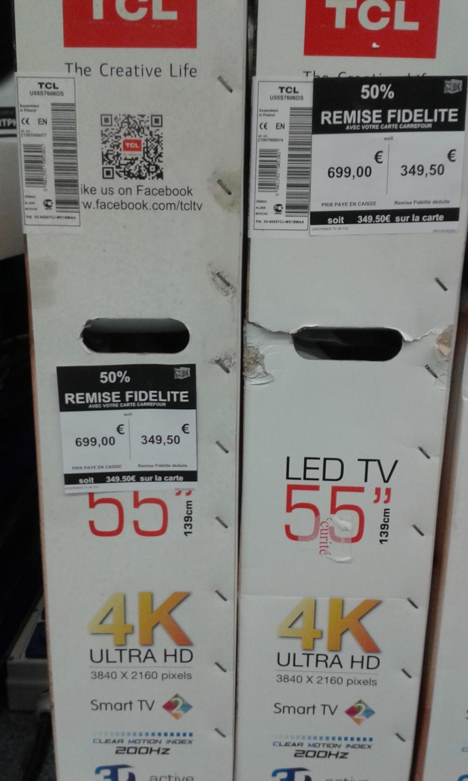 """Sélection d'articles electro en promotion - Ex : TV 55"""" TCL U55S7606DS 4K (via 349.5€ sur la carte)"""