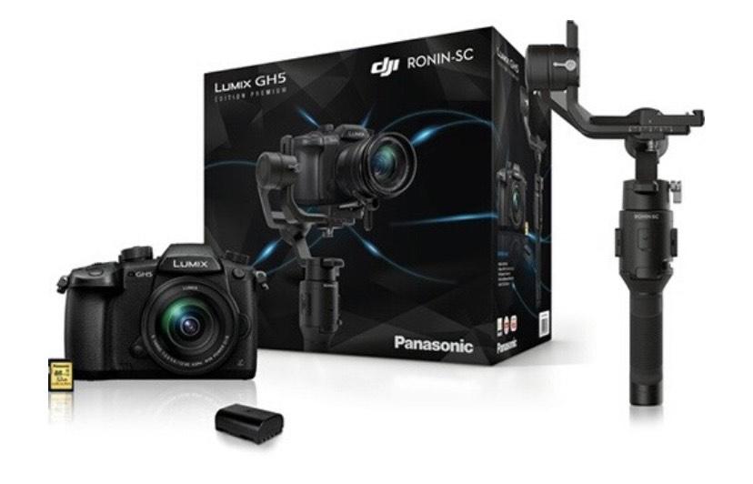 Appareil photo Panasonic Lumix GH5 + Objectif 12-60 f/3.5-5.6 + Carte SD 32 Go + Batterie sup. + Stabilisateur DJI Ronin SC