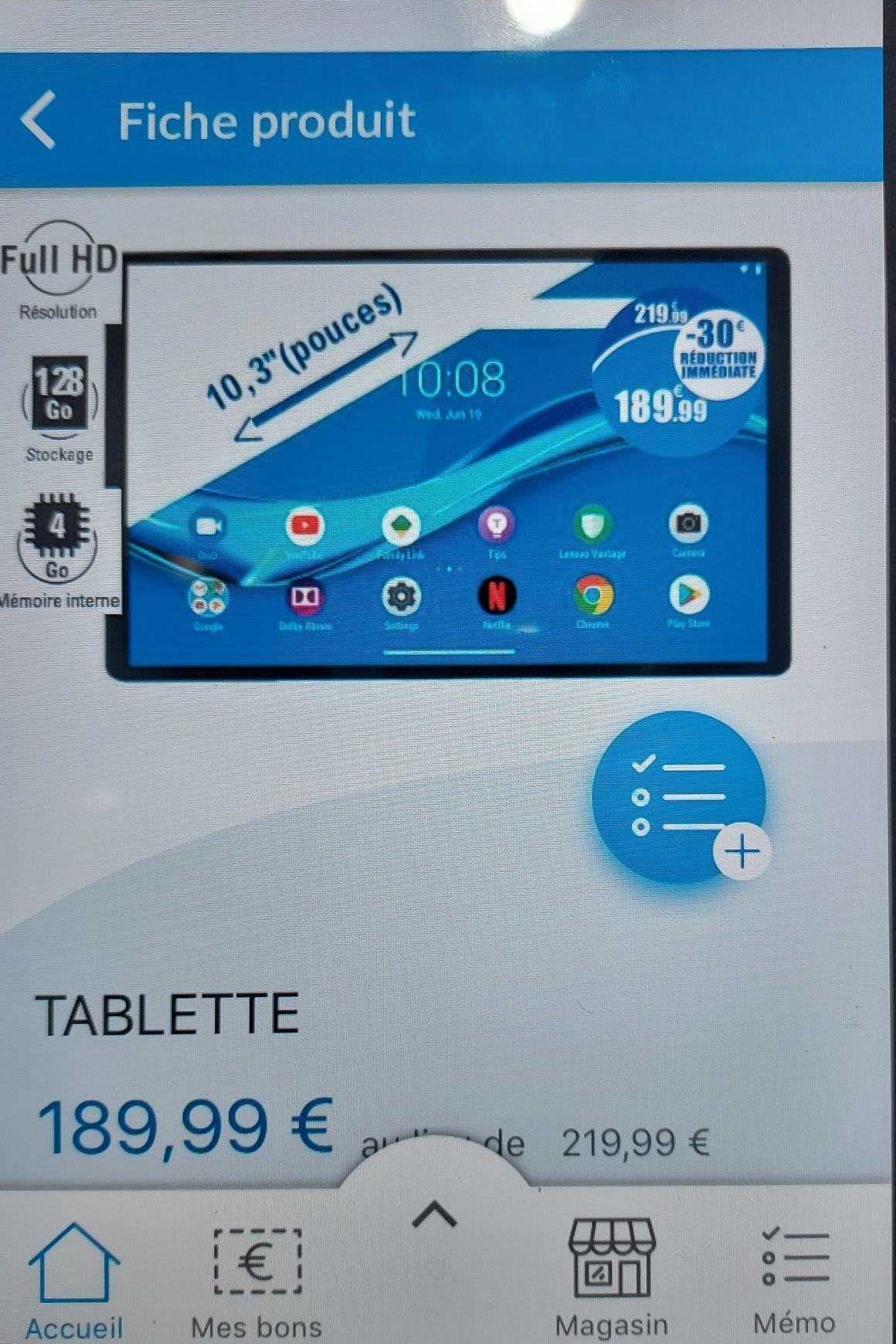 "Tablette 10.3"" Lenovo M10 plus - Helio P22T, 4 Go, 128 Go eMMC"