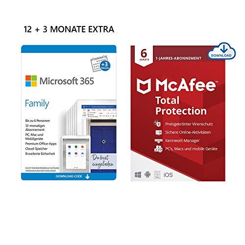 Licence Microsoft 365 Famille 15 mois - 6 utilisateurs (Dématérialisé) + Licence McAfee Total Protection 2020 12 mois - 6 Appareils
