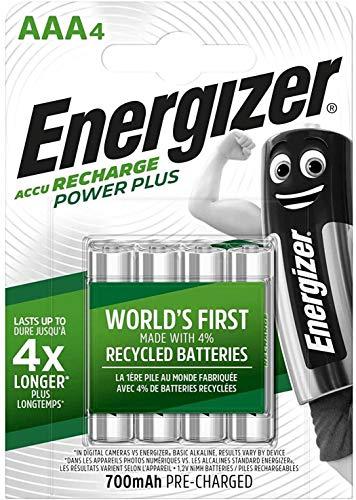 Lot de 4 piles rechargeables AAA NiMH Energizer Power Plus - 700 mAh (Vendeur Tiers)