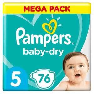 Lot de 2 paquets de couches Pampers acheté = la 3ème offerte - Ex: Lot de 3 paquets de 76 couches Pampers Baby Dry (Taille 5)