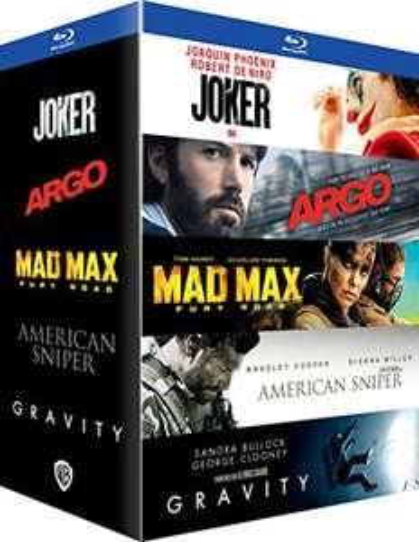 Coffret Blu-Ray 5 Films: Joker + Mad Max Fury Road + Gravity + Argo + American Sniper