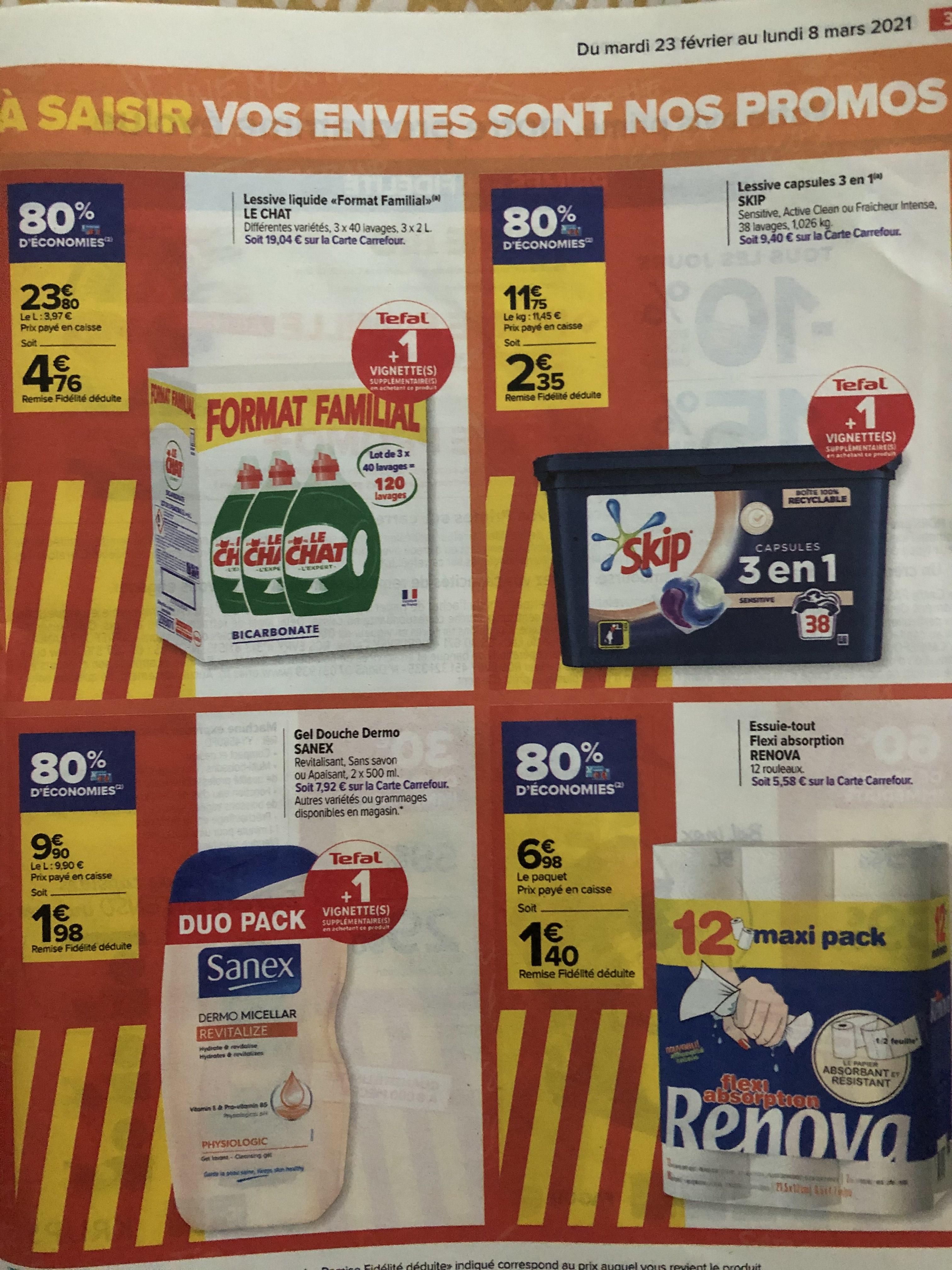 Sélection de produits en promotion - Ex: 3 Bidons de Lessive Le chat 3x 40 lavages (via 19.04€ sur la carte fidélité)