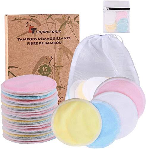 Lot de 16 disques coton démaquillant lavable + 2 sacs de lavage en fibre de bambou & velours (vendeur tiers)