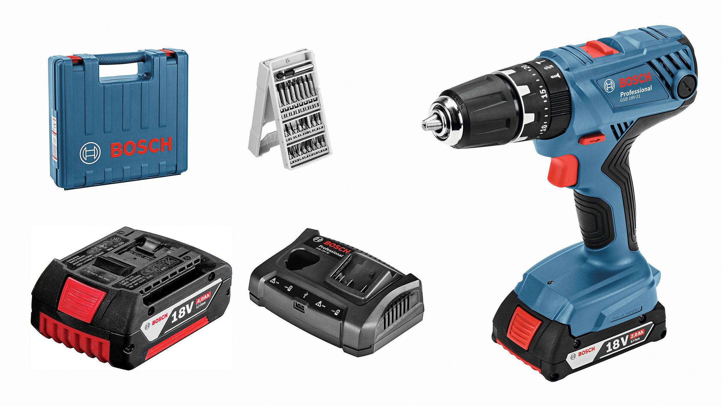 Perceuse-visseuse Bosch GSB 18V + 2 batteries 18V 2Ah & 4Ah + chargeur double + Box + Embouts