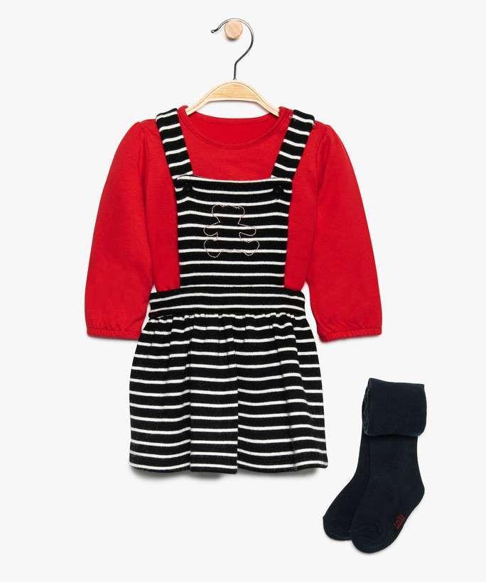 Ensemble 3 pièces pour bébé Lulu Castagnette - robe + tee-shirt + collants (du 3 au 24 mois)