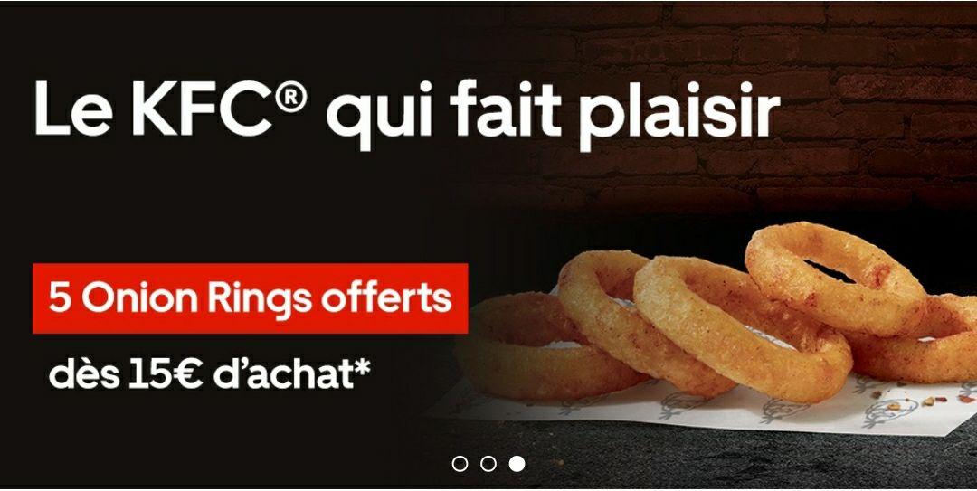 5 Onion rings offerts dès 15€ d'achat chez KFC