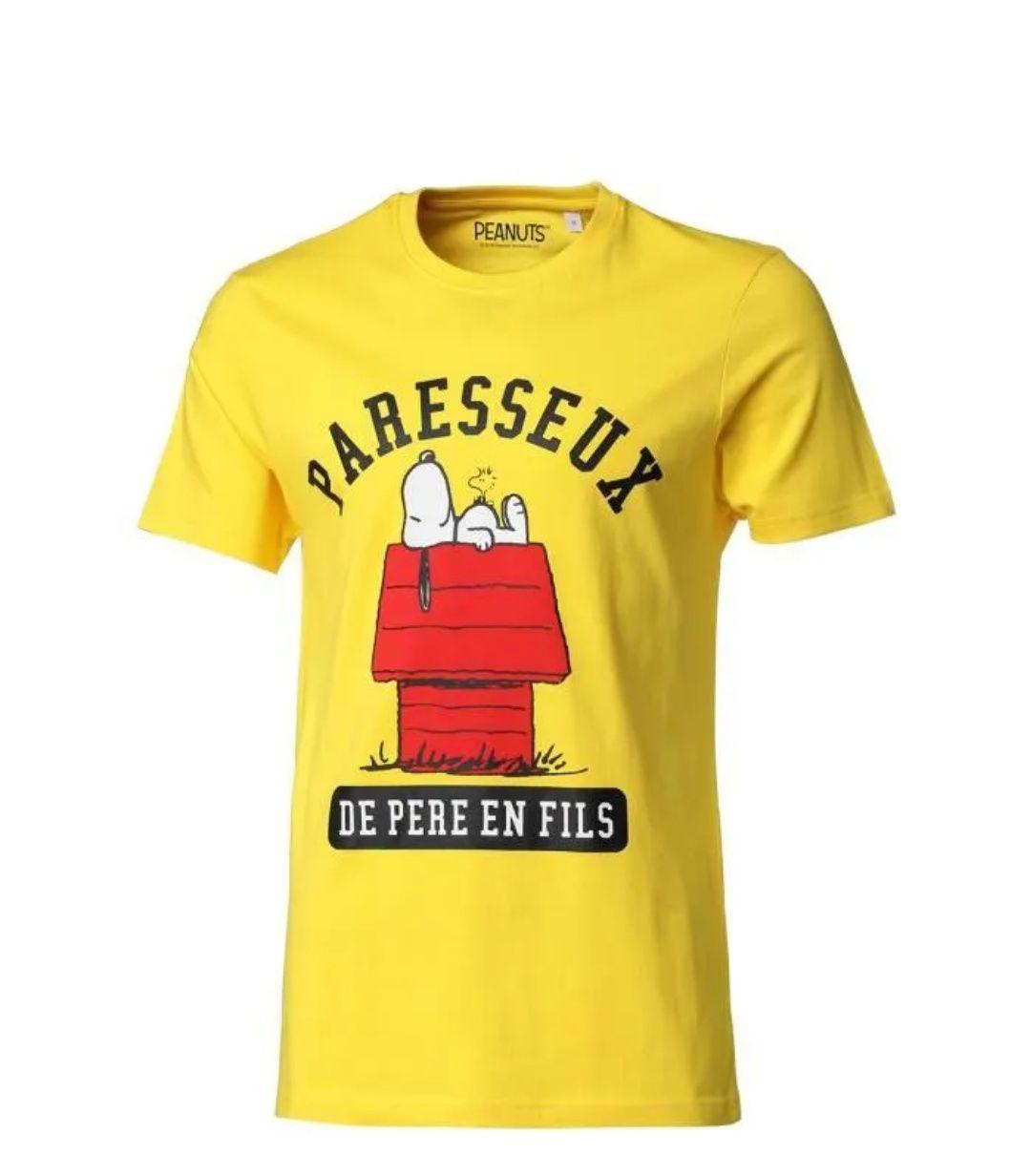 T-Shirt Snoopy à manches courtes pour Homme - Jaune, Tailles S à L