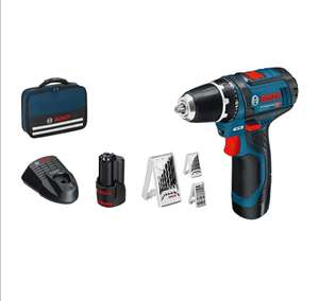 Perceuse-visseuse Sans-fil Bosch Professional GSR 12V-15 - 2 batteries + Pack d'accessoires, Soft bag (Via coupon)