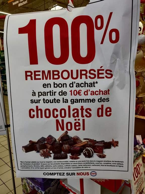 Chocolat de Noël 100% remboursé en bon d'achat dès 10€ d'achat (Massy 91)