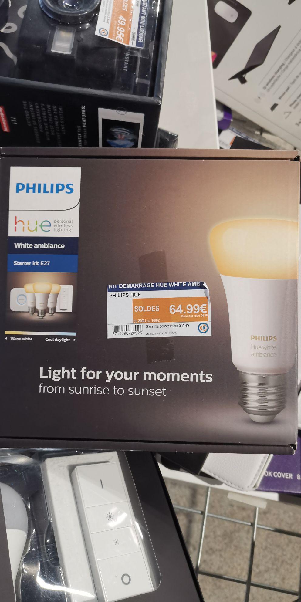Kit de démarrage Philips Hue - 3 Ampoules LED E27 + Pont + Télécommande - Rochefort (17)