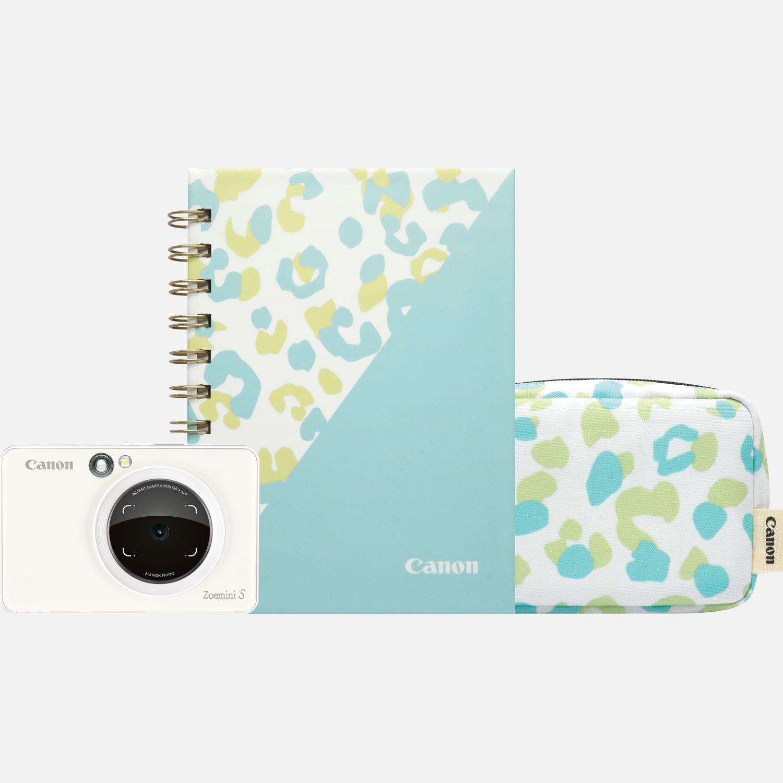 Imprimante photo couleur instantanée Canon Zoemini S (blanc perle) + agenda + étui