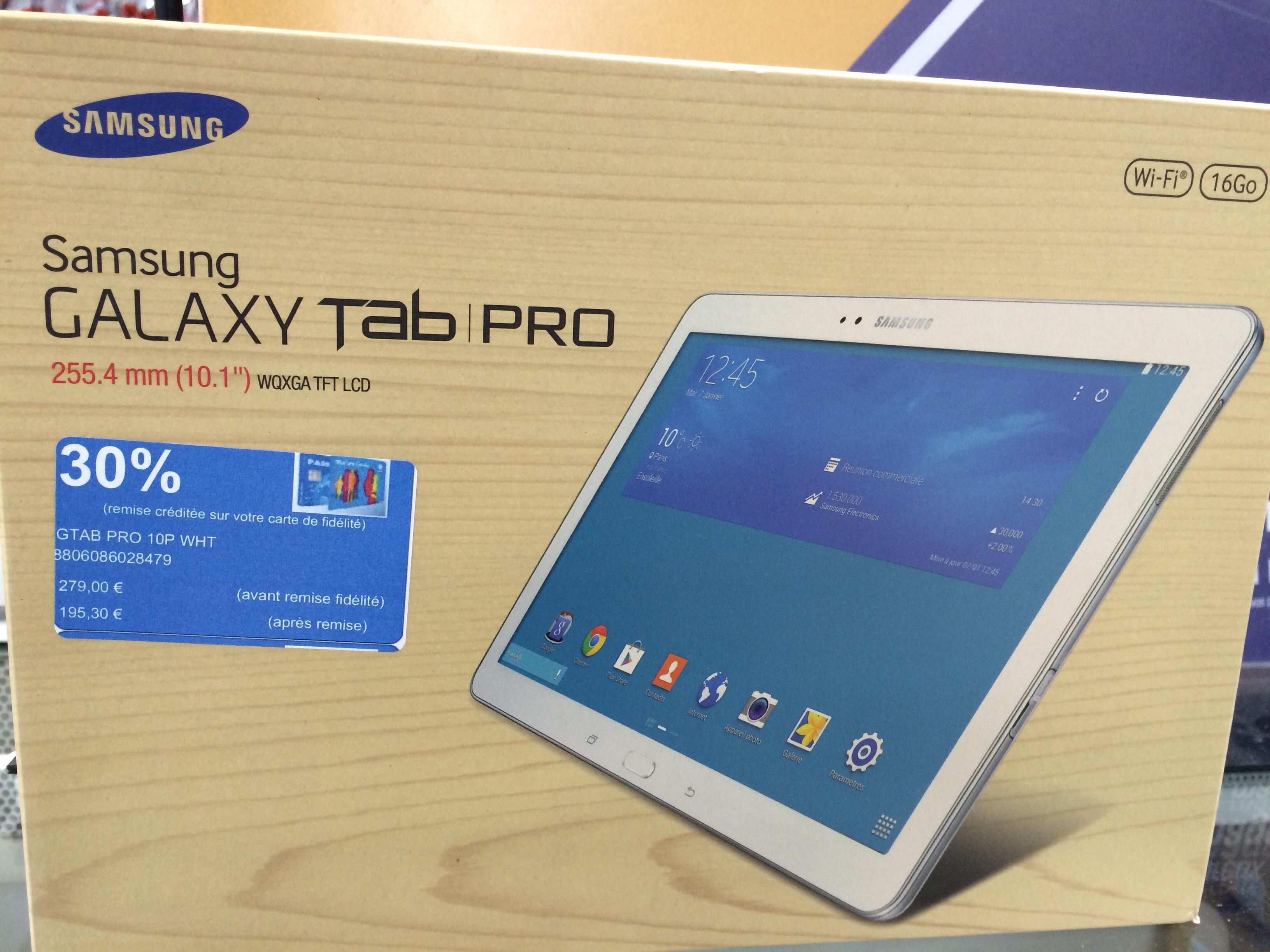 "Tablette 10.1"" Samsung Galaxy Tab Pro - 16 Go (avec 83.7€ sur la carte)"