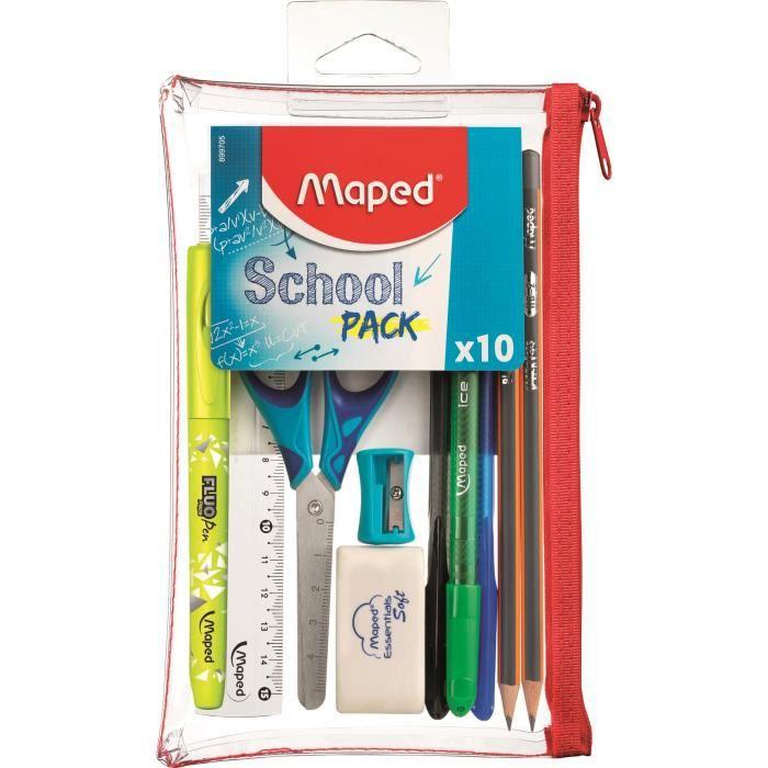 Trousse transparente Maped School Pack - 10 pièces
