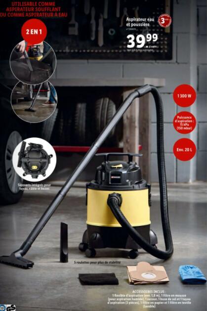 Aspirateur eau et poussière Parkside - 1300W / 20L