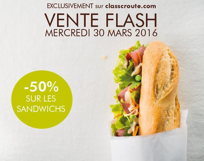 50% de réduction sur tous les sandwichs baguettes ou les salades