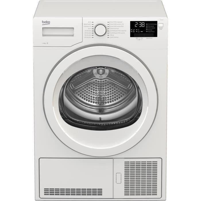 Sèche-linge à condensation Beko DCY824 - 8 kg, Classe B, Tambour Aquawave, Blanc