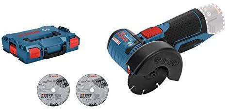 Meuleuse d'angle sans fil Bosch GWS 12V-76 + Coffret Lboxx + 3 disques (sans batterie, ni chargeur)