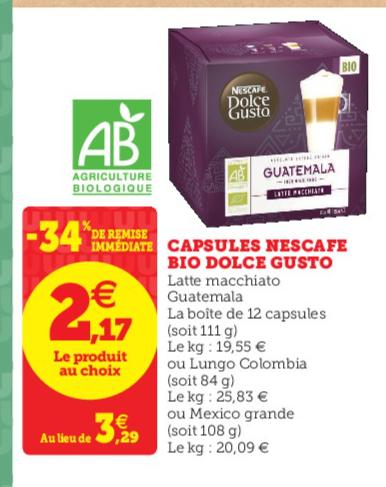 Paquet de 12 capsules Nescafé Dolce Gusto Bio (plusieurs variétés)