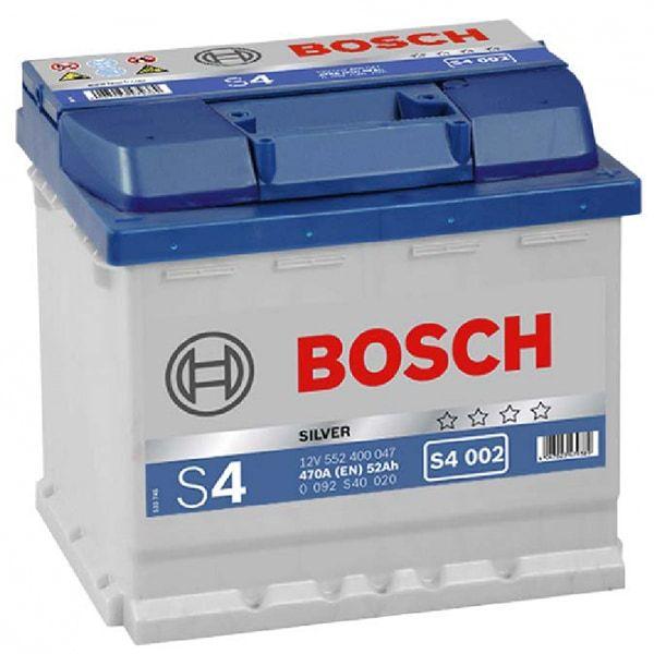 Batterie de voiture Bosch S4002 - 12V, 52Ah, 470A (59.06€ avec RAKUTEN7 + 2.95€ en Rakuten Points) - Avatacar