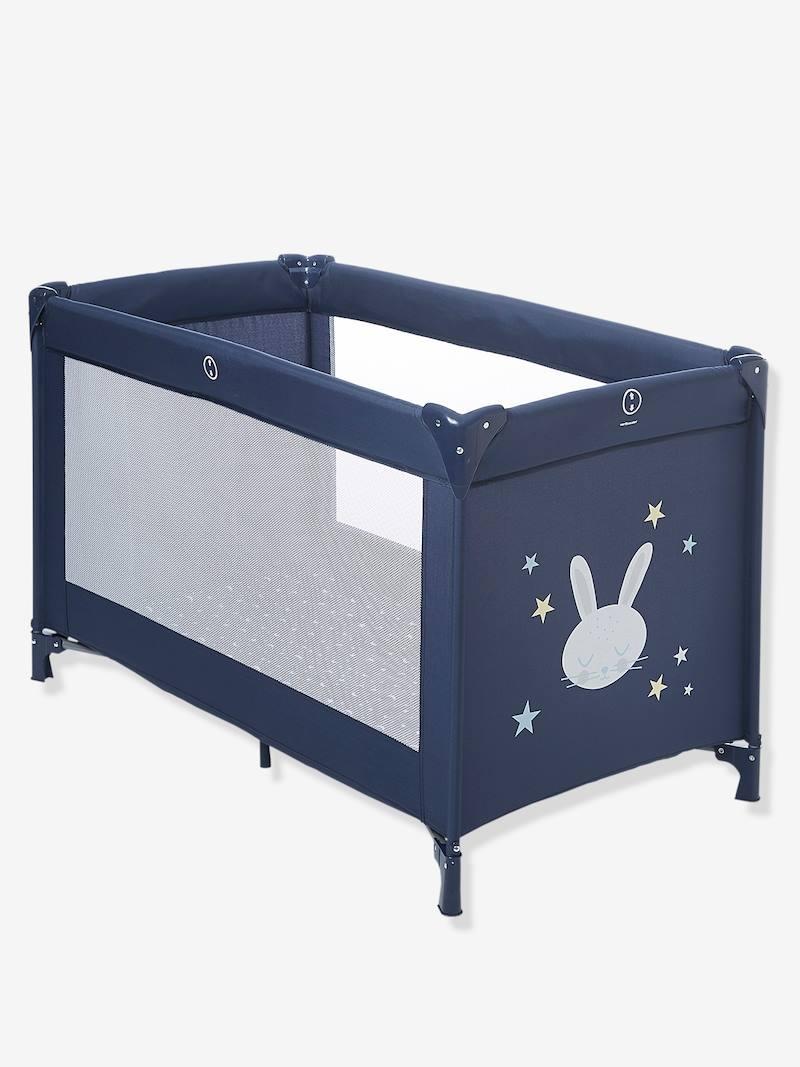 Lit parapluie bébé Vertbaudet Travel'bed - Marine/lapin